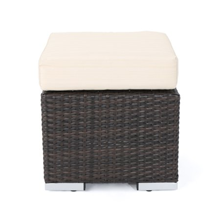 Malibu Outdoor 16 Inch Wicker Ottoman Seat with Water Resistant Cushion, Multibrown and Beige