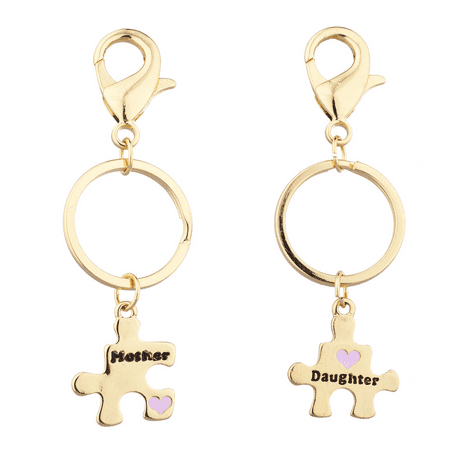 Mom Keychain - Lux Accessories Gold Tone Mother Daughter Puzzle Pieces Charm Keychain Set 2PC