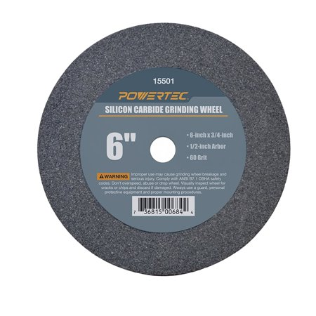 """15501 1/2"""" Arbor 60-Grit Silicon Carbide Grinding Wheel, 6"""" by 3/4"""", Made of green silicon carbide By POWERTEC From USA"""