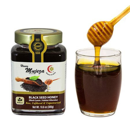 Mujeza Raw Black Seed Honey- (Black cumin- nigella seeds) Not mixed with black seed oil or black seed powder- Gluten Free Non Gmo Unfiltered Unprocessed 100% Natural Honey- Kosher 300g/10.6oz Gluten Free Organic Honey