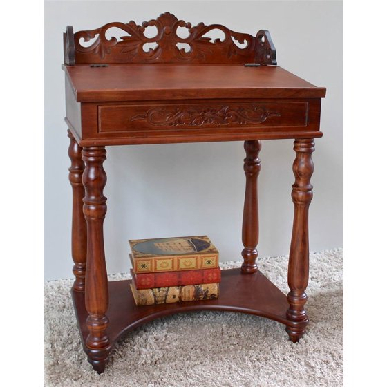 Hand carved small wood writing desk walmart