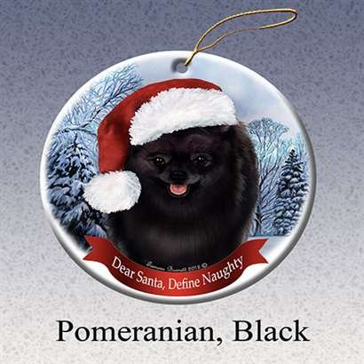 Holiday Pet Gifts Pomeranian (Blk) Santa Hat Dog Porcelain Christmas Tree Ornament