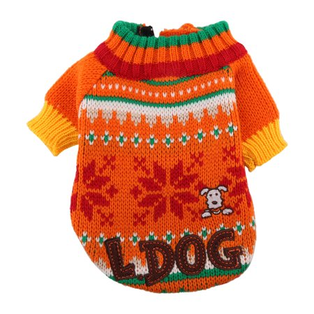 Winter Puppy Dog Acrylic Snowflake Pattern Warming Knit Sweater Clothes - Acrylic Sweaters