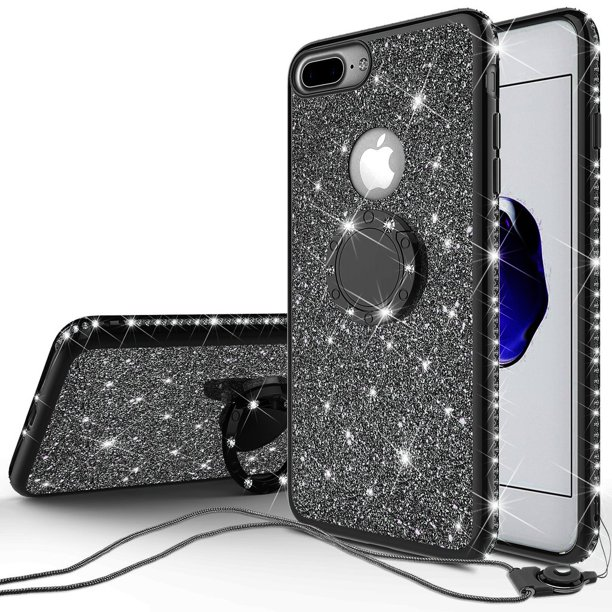 Apple iPhone 7 Plus Case, Glitter Cute Phone Case Girls Kickstand,Bling Diamond Rhinestone Bumper Ring Stand Sparkly Clear Thin Soft Protective Apple iPhone 7 Plus Case for Girl Women - Black