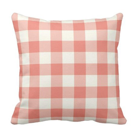 BSDHOME Colorful Buffalo Coral Check Checkered Modern Large Big Pillowcase Cover 16x16 inch - image 1 de 1