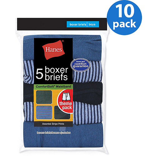 Hanes Boys' Boxer Briefs, 10 Pack