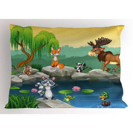 - Cartoon Pillow Sham Funny Mascots Animals by the Lake Moose Fox Squirrel Raccoon Kids Nursery Theme, Decorative Standard Size Printed Pillowcase, 26 X 20 Inches, Multicolor, by Ambesonne