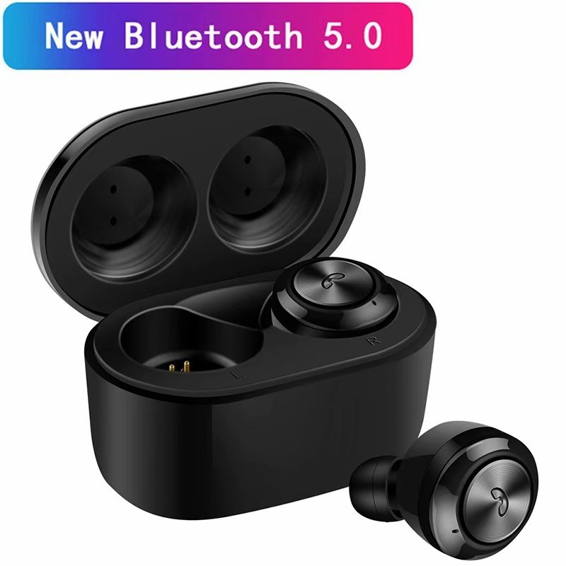 VicTsing True Wireless Stereo Bluetooth 5.0 Earbuds Touch TWS Headset Headphone with HIFI Sound Quality Built-in Mic Auto-pairing Hand-free Earbuds with Charging Box-Black