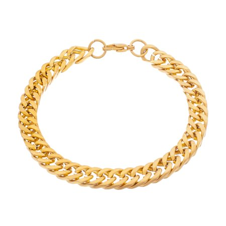 Mens Curb Chain Bracelet in Yellow Gold IP Plated Stainless Steel ()