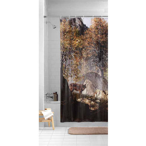 Mainstays Wilderness Wolf Photoreal PEVA Shower Curtain
