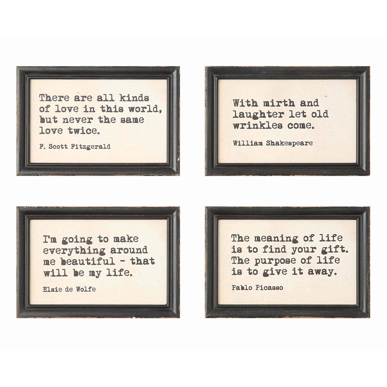 3r Studio Wall Art Wood Framed Quotes Set Of 4 Walmart Com Walmart Com