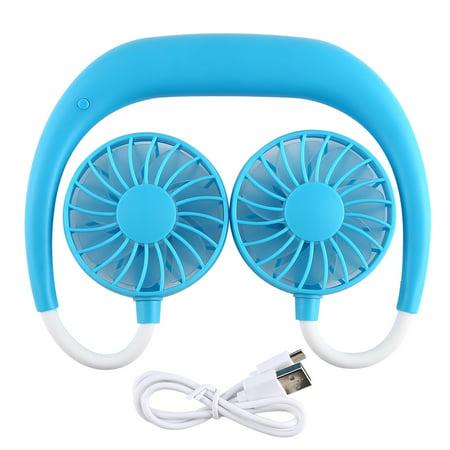 New Neckband Fan Handheld Sports Fan 3 Speeds Adjustable Wearable Fan Charging Hanging Fan Portable Lazy USB Travel Fan ()