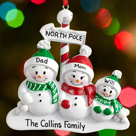 Personalized North Pole Family Christmas Ornament 2-6 Family - Personalized Christmas Ornaments For Kids
