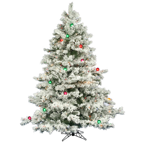 Vickerman Flocked Alaskan 6.5' White Artificial Christmas Tree with 600 Multicolored Lights with Stand