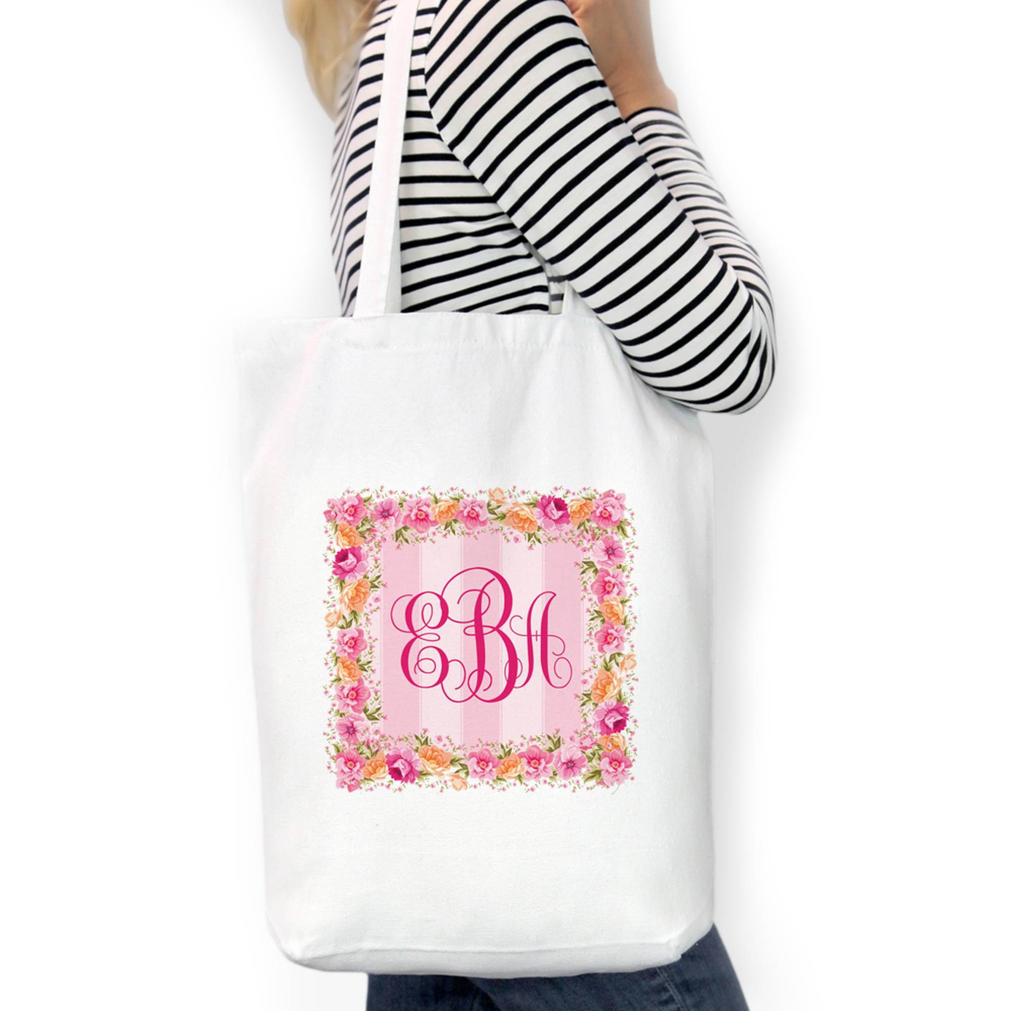 "Monogram Square Wreath Custom Cotton Tote Bag, Sizes 11"" x 14"" and 14.5"" x 18"""