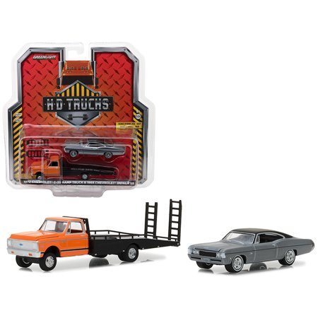 1972 Chevrolet C-30 Ramp Truck and 1968 Chevrolet Impala SS HD Trucks Series 12 1/64 Diecast Models by Greenlight ()