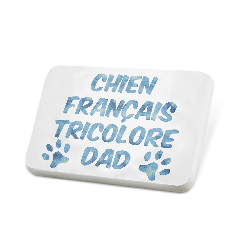 Porcelein Pin Dog & Cat Dad Chien Français Tricolore Lapel Badge – NEONBLOND