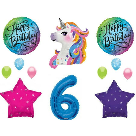 Blue 6th Neon RAINBOW UNICORN Happy Birthday Party Balloons Decoration Girl