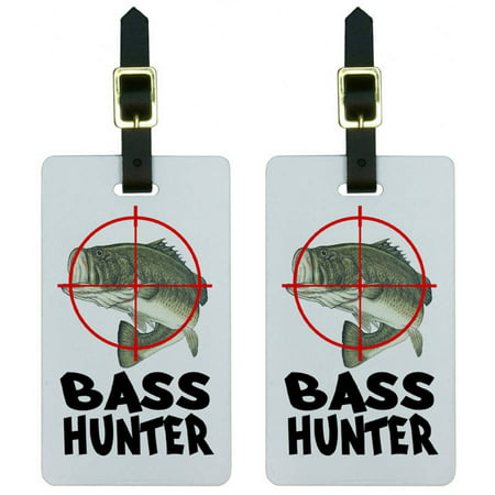 Bass Hunter Fish Fishing Fisherman Luggage Tags Suitcase Carry-On ID, Set of (Best Gift For A Hunter And Fisherman)