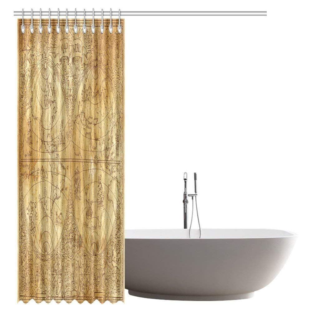 GCKG Antique Decor Shower Curtain, Ancient Map of World Global History Stained Paper Oceans Lands Atlas Educational Art Shower Curtain Set with Hooks, 66x72 Inches - image 1 of 2