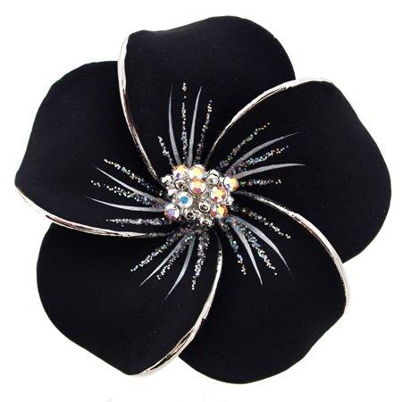 Black Hawaiian Plumeria Swarovski Crystal Flower Brooch and Pendant