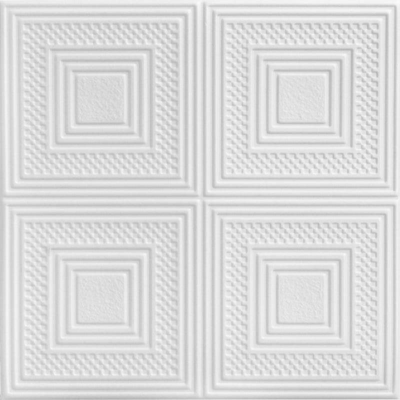 Nested Squares 1.6 ft. x 1.6 ft. Foam Glue-up Ceiling Tile in Plain White (21.6 sq. ft. / case)