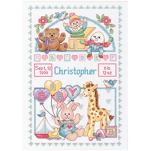 """Dimensions """"Birth Record For Baby"""" Counted Cross Stitch Kit, 10"""" x 14"""""""