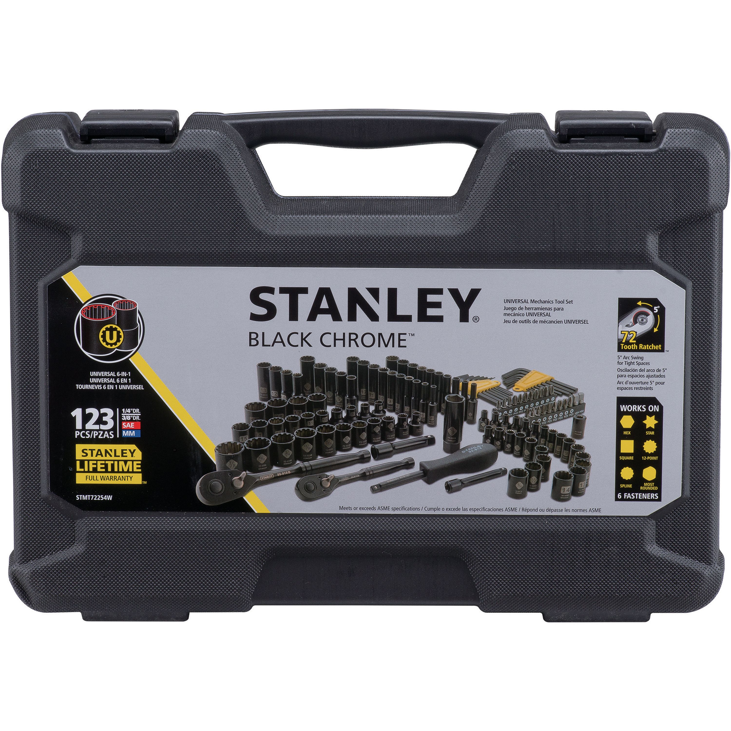 STANLEY 123-Piece Mechanics Tool Set, Black Chrome | STMT72254W