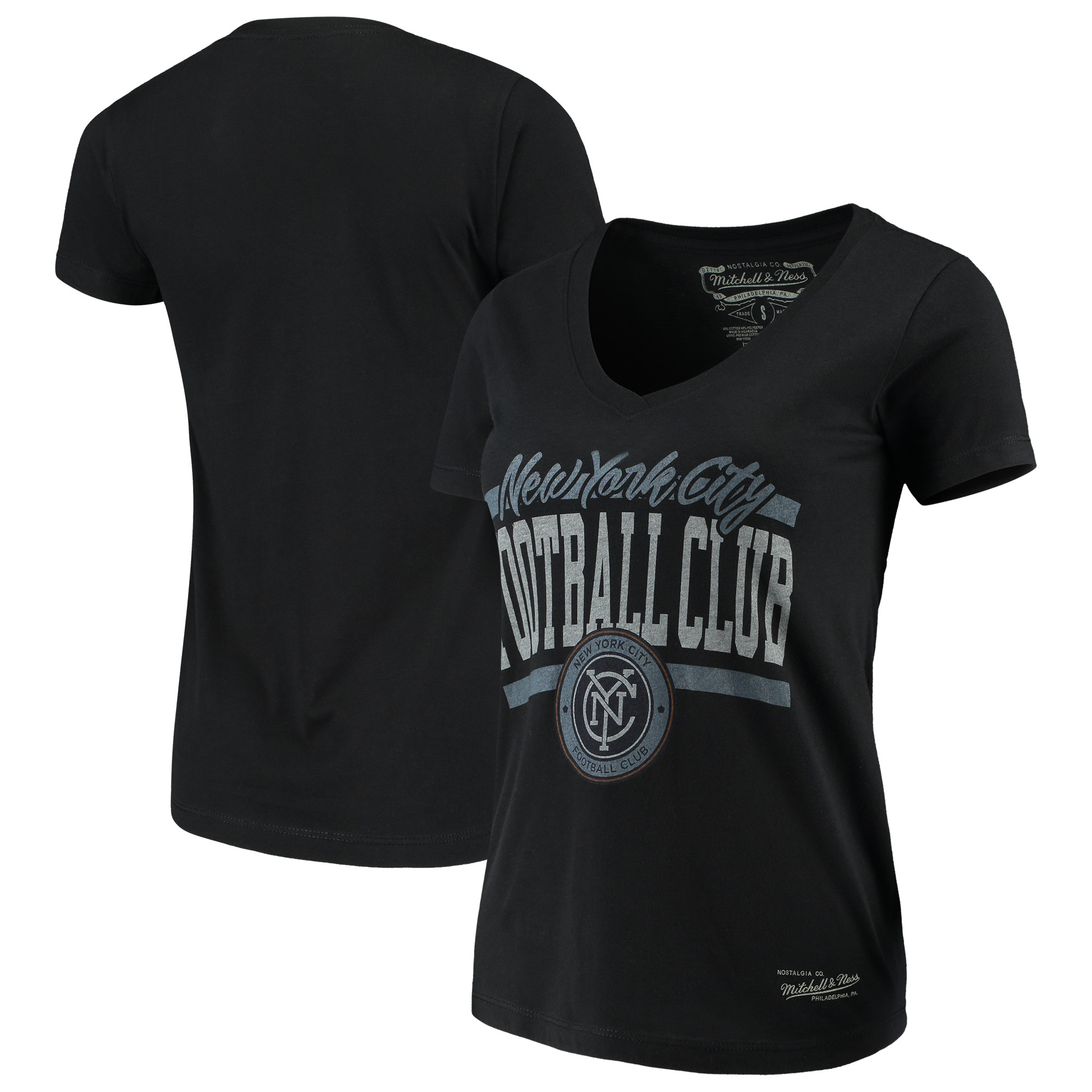 New York City FC Mitchell & Ness Women's MVP Bar Graphic T-Shirt - Black