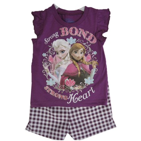 Little Girls Purple Frozen Characters Plaid Print 2 Pc Shorts Set 2T-4T - Frozen Outfits For Kids
