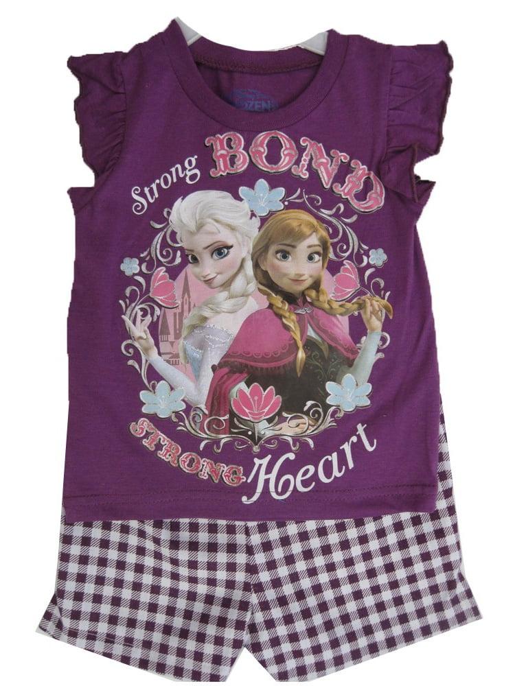 Little Girls Purple Frozen Characters Plaid Print 2 Pc Shorts Set 2T-4T