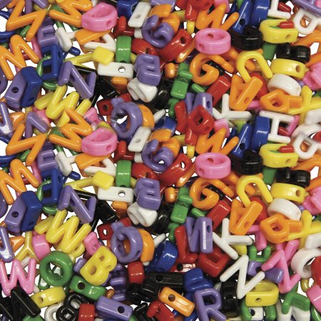 Creativity Street Plastic Cube Uppercase Letter Bead, Assorted Color, Pack of 288](Letter Beads)