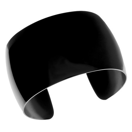 Stainless Steel Smooth Wide Cuff Bangle with Black Ion Plating