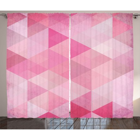 Pink Decor Curtains 2 Panels Set, Abstract Vintage Triangles Mosaic ...