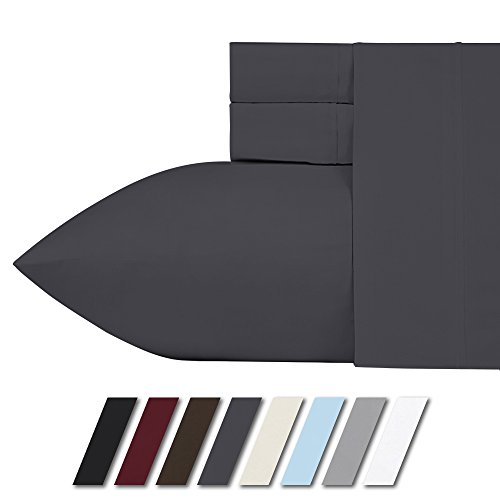 1000 Thread Count 100% Egyptian Cotton 21 Inches Deep Pocket Sheet Set, Dark Grey Solid King Sheets 4 Piece Set