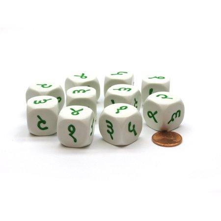 Pack of 10 20mm D6 Hindi Numbers 1 to 6 - White with Green