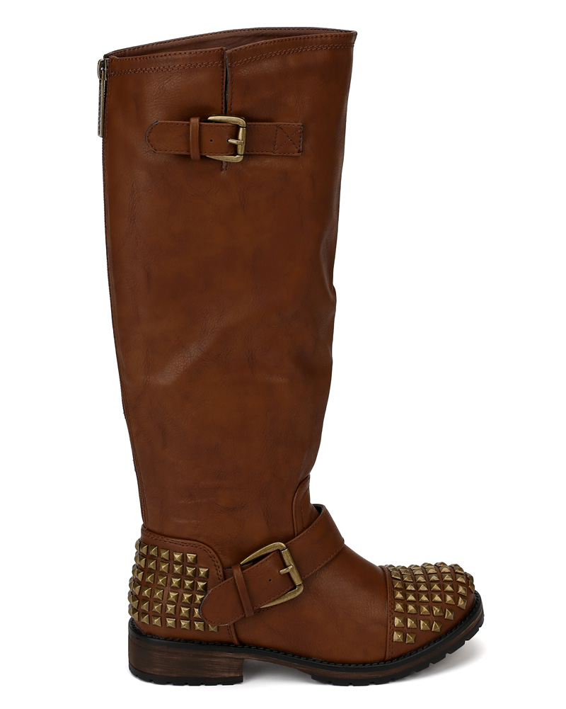 Breckelles Trooper-13 Leatherette Studded Buckle Riding Knee High Boot