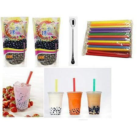 Boba Tapioca Pearls (Wufuyuan - Black Tapioca Pearl 8.8 Oz (2 bag) + 35 Extra wide Fat Boba Drinking Straw + One NineChef Spoon Per Order)