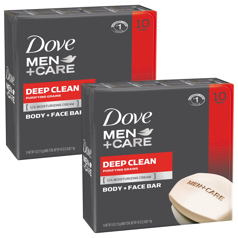 Dove Men+Care Deep Clean Body and Face Bar, 4 oz, 20 Bar