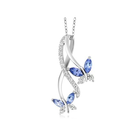 Ladies Tanzanite Pendant (1.21 Ct Marquise Blue Tanzanite 925 Sterling Silver Butterfly Infinity Pendant )