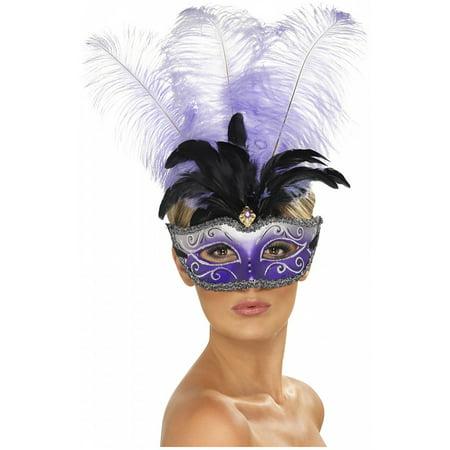 Venetian Eyemask Adult Costume Accessory Purple with Black andamp; Purple Feathers