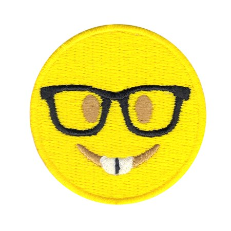 Emoji With Glasses Iron On Applique Patch - Cool Glasses Emoji
