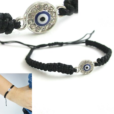 Black String Evil Eye Bracelet Protection Sterling Silver Safe Wet Luck Charm](Black Jelly Bracelets)