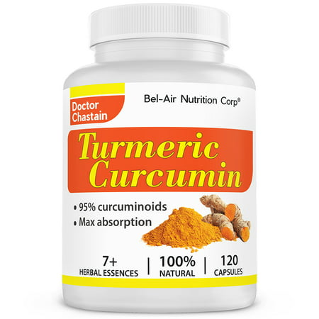 Bel-Air Turmeric Curcumin 1000mg, 95% curcuminoids with black pepper and herbal extracts (120 Capsules) for best absorption