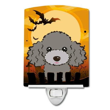 Halloween Silver Gray Poodle Ceramic Night Light - Halloween 1817