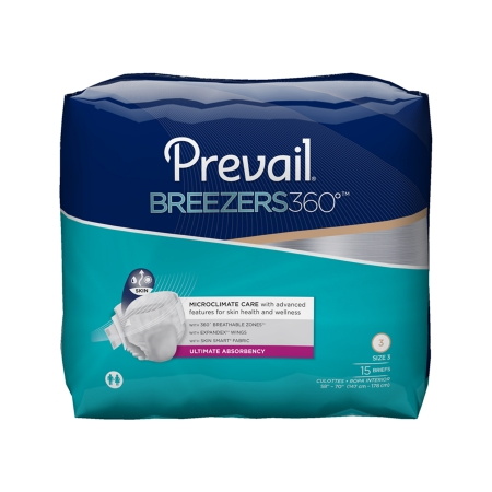 Adult Incontinent Brief Prevail? Breezers 360?? Tab Closure Size 3 Disposable Heavy Absorbency