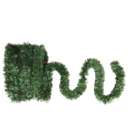 18 Pre Lit Battery Operated Twinkling Green Pine Artificial Christmas Garland Multi Led Lights