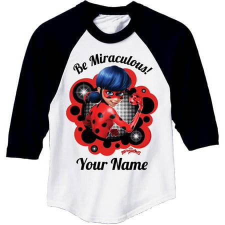 Personalized Miraculous Ladybug Black Sleeve Youth Jersey Tee, Black