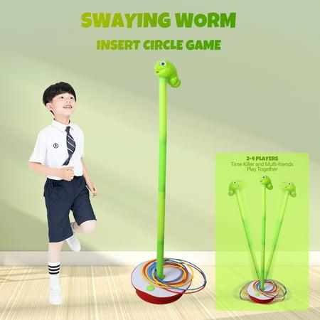 Swaying Worm Insert Circle Game 3 Feet Wriggling Worm Kids Families Playing Game 19pcs