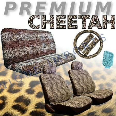 New Premium Grade 12 Pieces Tan Cheetah Auto Interior Car